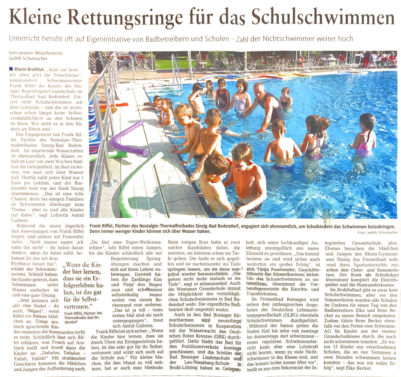 Zeitungsbericht-Schwimmen